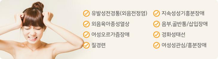 유발성전경통(외음전정염), 외음육아종성열상, 여성오르가즘장애, 질경련, 지속성성기흥분장애, 음부,골반통/삽입장애, 경화성태선, 여성성관심/흥분장애