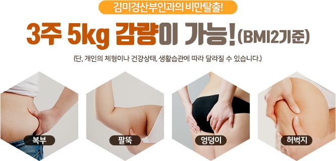 김미경산부인과의 비만탈출! 3주 5kg 감량이 가능! (BMI2기준) 단, 개인의 체형이나 건강상태, 생활습관에 따라 달라질 수 있습니다.